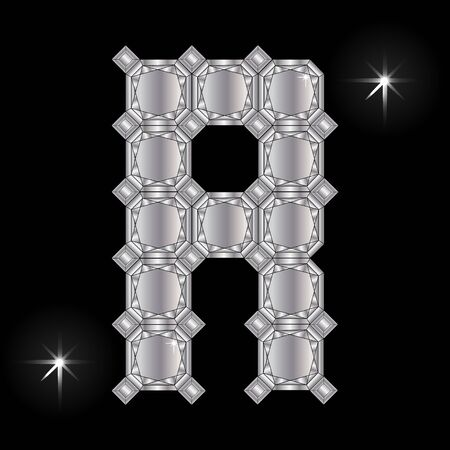 faceting: Metal letter R. Faceting gemstone. Geometric polygonal shapes Illustration