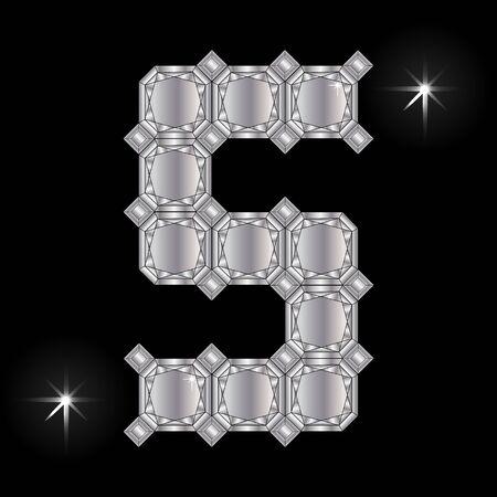 faceting: Metal letter S. Faceting gemstone. Geometric polygonal shapes