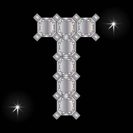 faceting: Metal letter T. Faceting gemstone. Geometric polygonal shapes
