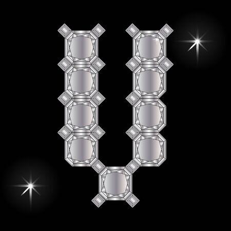 faceting: Metal letter V. Faceting gemstone. Geometric polygonal shapes