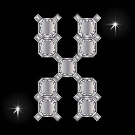 faceting: Metal letter X. Faceting gemstone. Geometric polygonal shapes