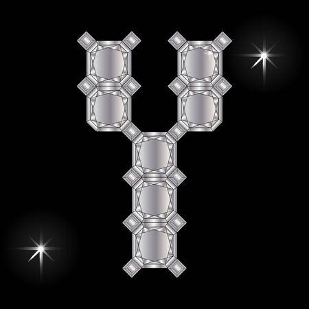 faceting: Metal letter Y. Faceting gemstone. Geometric polygonal shapes