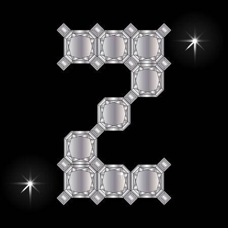 faceting: Metal letter Z. Faceting gemstone. Geometric polygonal shapes
