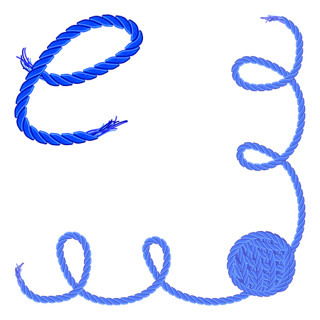 e alphabet: Letter E - Alphabet, font vector - yarn, rope, cable - For handmade products.
