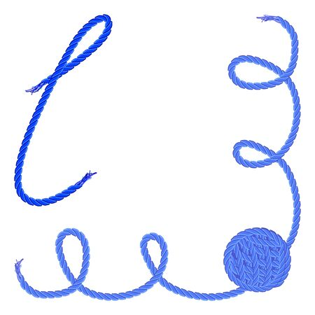 Letter L - Alphabet, font vector - yarn, rope, cable - For handmade products.