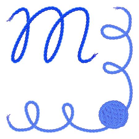 手紙 M - アルファベット、フォントのベクター - 糸、ロープ、ケーブル - 手作りの製品のため。
