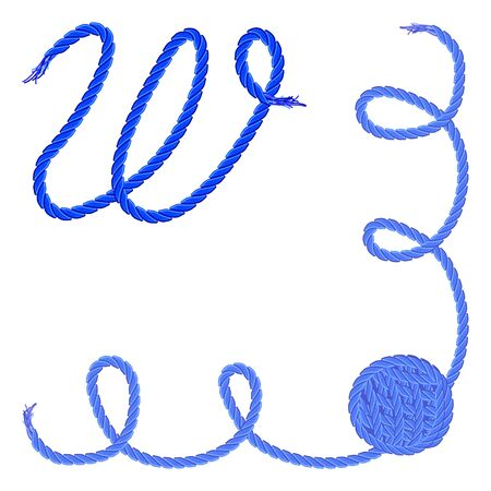Letter W - Alphabet, font vector - yarn, rope, cable - For handmade products.