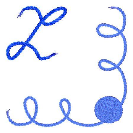手紙 Z - アルファベット、フォントのベクター - 糸、ロープ、ケーブル - 手作りの製品のため。