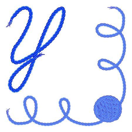 手紙 Y - アルファベット、フォントのベクター - 糸、ロープ、ケーブル - 手作りの製品のため。