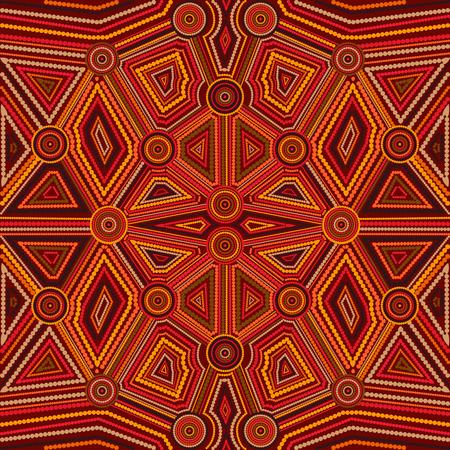 オーストラリアのアボリジニ アートの抽象的なスタイル。ベクトルの幾何学的な背景パターン。エスニック スタイル。  イラスト・ベクター素材