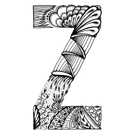 lettres stylisées - lettre Z. illustration. Doodle blanc noir.
