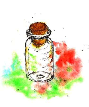 apothecary: Small bottle with a wooden cork. Hand drawing watercolor and ink