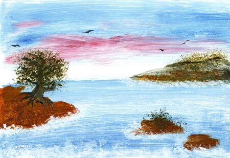 river rock: Sea evening landscape. Hand drawing acrylic. Sky - Water - Coast - Trees - Birds Stock Photo