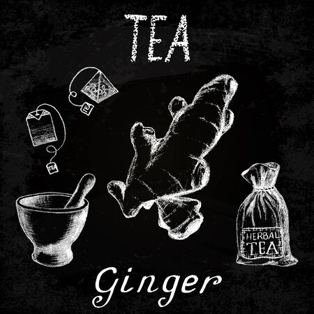 origanum: Ginger herbal tea. Chalk board set of elements on the basis hand pencil drawings. Ginger root, tea bag, mortar and pestle, textile bag. For labeling, packaging, printed products Illustration
