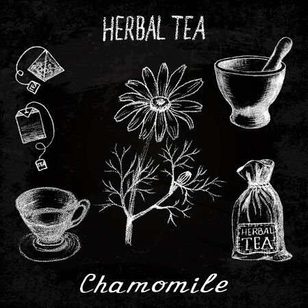 chamomile tea: Chamomile herbal tea. Chalk board set of elements on the basis hand pencil drawings. Herb chamomile, tea bag, mortar and pestle, textile bag, cup. For labeling, packaging, printed products