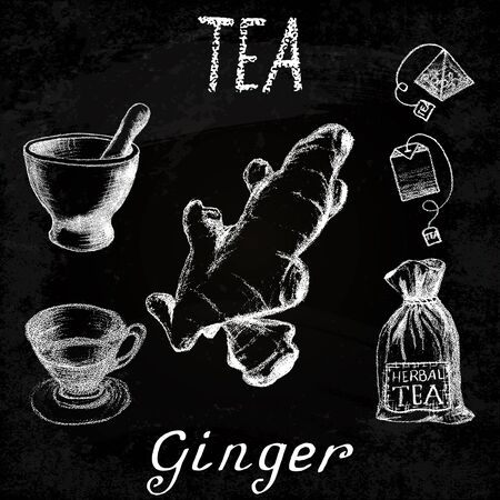 Ginger herbal tea. Chalk board set of elements on the basis hand pencil drawings. Ginger root, tea bag, mortar and pestle, textile bag, cup. For labeling, packaging, printed products Illustration