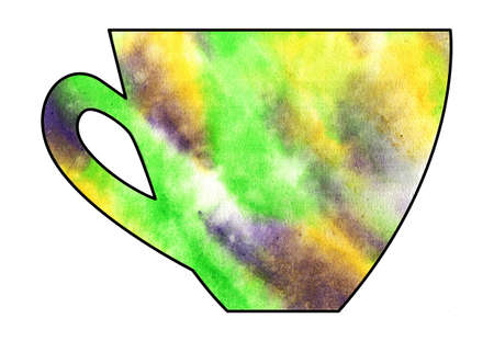 mixed media: Cup of tea and coffee. Handmade. Watercolor, Mixed media. Cut paper. Tea time. Green Yellow Purple