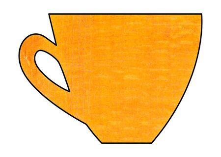 mixed media: Cup of tea and coffee. Handmade. Watercolor Mixed media. Cut paper. Tea time. Orange