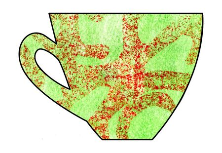 mixed: Cup of tea and coffee. Handmade. Watercolor, Mixed media. Cut paper. Tea time. Green and red Stock Photo