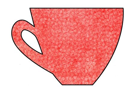 mixed media: Cup of tea and coffee. Handmade. Watercolor Mixed media. Cut paper. Tea time. Red