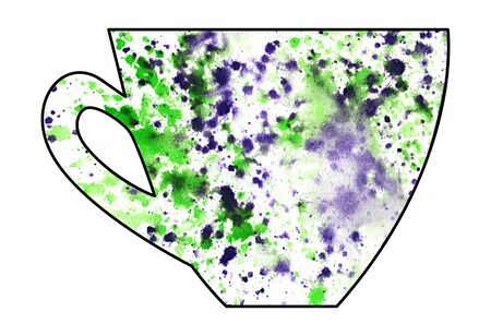 mixed media: Cup of tea and coffee. Handmade. Watercolor, Mixed media. Cut paper. Tea time. Green Purple White Stock Photo