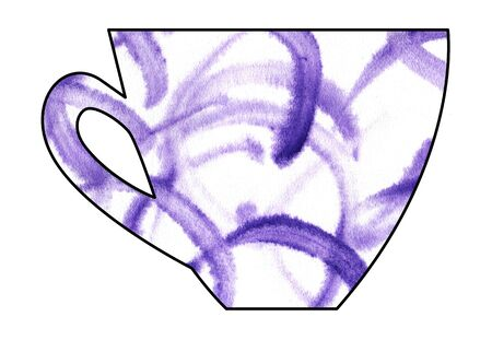 mixed drink: Cup of tea and coffee. Handmade. Watercolor Mixed media. Cut paper. Tea time. Purple White Stock Photo