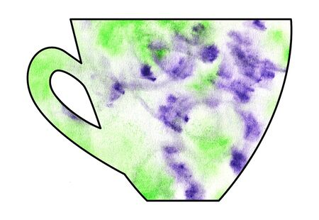 mixed media: Cup of tea and coffee. Handmade. Watercolor, Mixed media. Cut paper. Tea time. Green and Purple and White Stock Photo