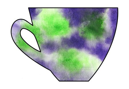 mixed media: Cup of tea and coffee. Handmade. Watercolor, Mixed media. Cut paper. Tea time. Green and Purple