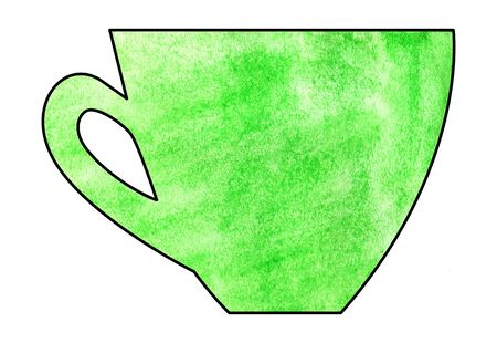 mixed media: Cup of tea and coffee. Handmade. Watercolor Mixed media. Cut paper. Tea time. Green