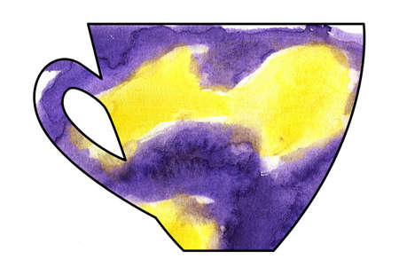 mixed media: Cup of tea and coffee. Handmade. Watercolor, Mixed media. Cut paper. Tea time. Yellow and Purple