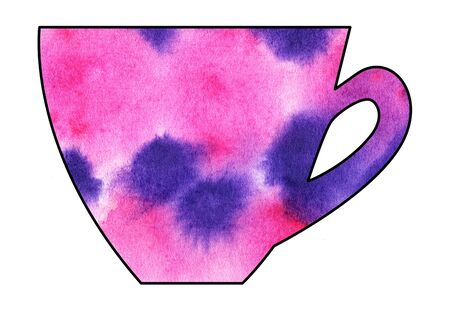 mixed media: Cup of tea and coffee. Handmade. Watercolor Mixed media. Cut paper. Tea time. Purple Pink Stock Photo