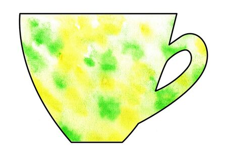 mixed media: Cup of tea and coffee. Handmade. Watercolor, Mixed media. Cut paper. Tea time. Green and Yellow Stock Photo