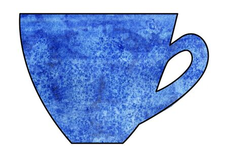 mixed media: Cup of tea and coffee. Handmade. Watercolor Mixed media. Cut paper. Tea time. Blue