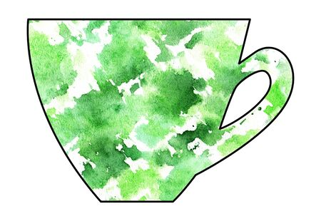 mixed media: Cup of tea and coffee. Handmade. Watercolor, Mixed media. Cut paper. Tea time. Green and White Stock Photo