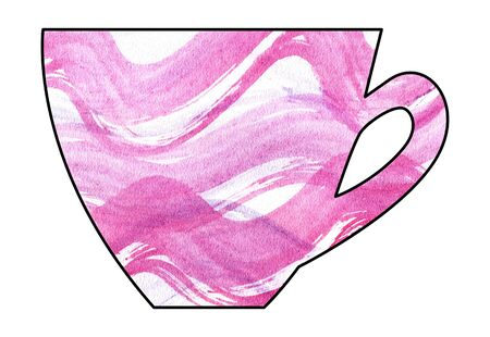 mixed media: Cup of tea and coffee. Handmade. Watercolor Mixed media. Cut paper. Tea time. Pink