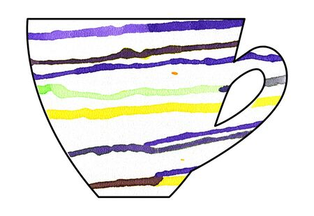 mixed media: Cup of tea and coffee. Handmade. Watercolor Mixed media. Cut paper. Tea time. Yellow Purple White Stock Photo