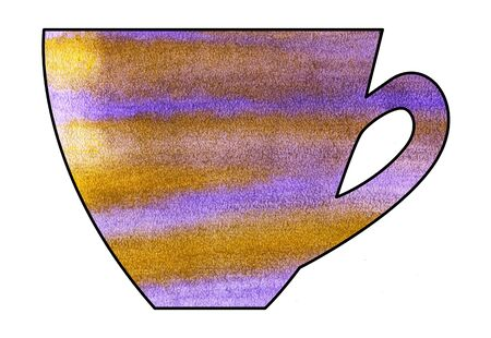 mixed media: Cup of tea and coffee. Handmade. Watercolor Mixed media. Cut paper. Tea time. Purple Yellow