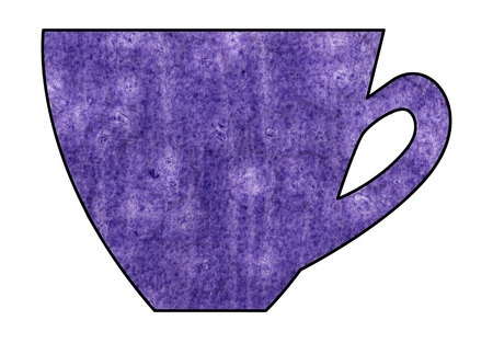 mixed media: Cup of tea and coffee. Handmade. Watercolor Mixed media. Cut paper. Tea time. Purple