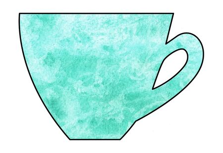 mixed media: Cup of tea and coffee. Handmade. Watercolor Mixed media. Cut paper. Tea time. Malachite