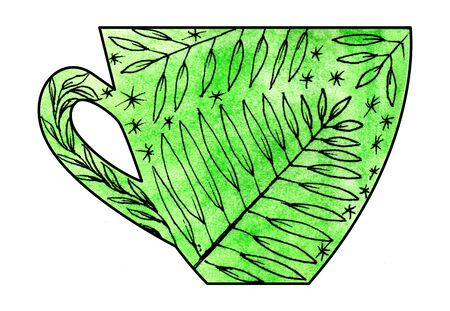 mixed: Cup of tea and coffee. Handmade. Watercolor, Mixed media. Cut paper. Tea time. Leaves on green