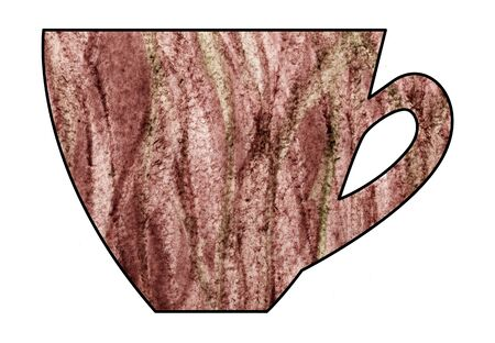 mixed drink: Cup of tea and coffee. Handmade. Watercolor Mixed media. Cut paper. Tea time. Brown