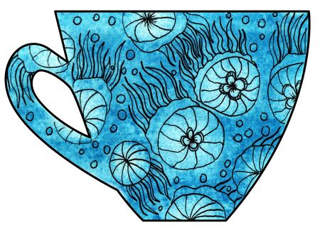 mixed media: Cup of tea and coffee. Handmade. Watercolor, Mixed media. Cut paper. Tea time. Drawing jellyfish in the sea
