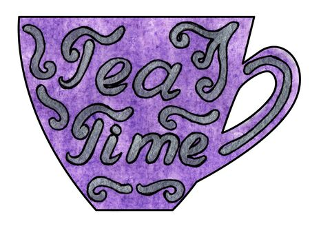 mixed drink: Cup of tea and coffee. Handmade. Watercolor, Mixed media. Cut paper. Lettering Tea time on a purple background Stock Photo