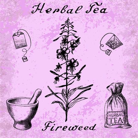 herbal tea: Willow herb, Chamerion, fireweed, rosebay hand drawn sketch botanical illustration. Herbal tea elements - tea bag, bag, mortar and pestle. Lettering. Grunge background