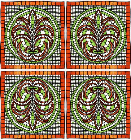 Ancient Greek ornament. Square and round vegetable mosaic. Hand drawing and computer graphics. Seamless pattern.