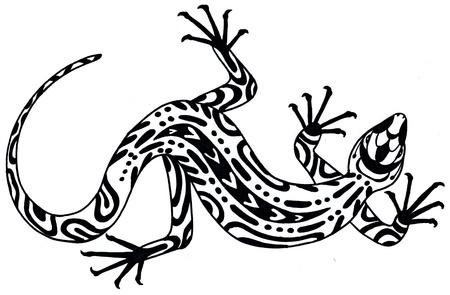 Lézard - dessin dans un style ethnique. Illustration dessinée à la main. Noir sur fond blanc Banque d'images - 84959210