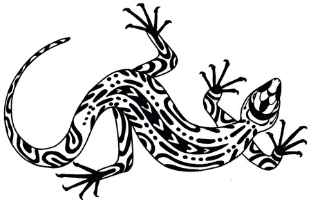 salamandre: Lézard - dessin dans un style ethnique. Illustration dessinée à la main. Noir sur fond blanc Banque d'images