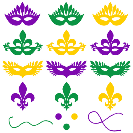 Mardi gras. Set of objects isolated on a white background - masks, beads, confetti, fleur de lis. Shrove Tuesday, Fat Tuesday.