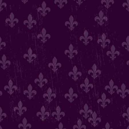 Mardi gras dark seamless background with fleur de lis.