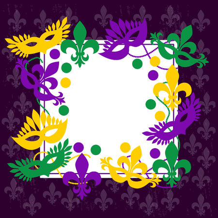 Mardi gras. Elegant frame. Place for your text. Carnival masks, beads, confetti, fleur de lis. Shrove Tuesday, Fat Tuesday